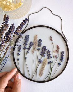 Real pressed lavender with grass and meadow flowers Stain glass round frame Lavender lover gift Hanging glass decor Floral decor Mom gift Diy Resin Art, Diy Resin Crafts, Pressed Flower Art, Valentines Day Decorations, Diy Embroidery, Flower Frame, Flower Crafts, Resin Jewelry, Gift For Lover