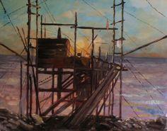 "Saatchi Online Artist: Antar Ninad; Oil, 2013, Painting ""Sunset, trabucco di Puglia"""