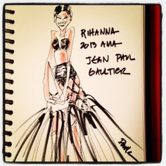 "Rihanna at the 2013 AMAs in Jean Paul Gaultier and her ""doobie wrap"" hair. LOVE."