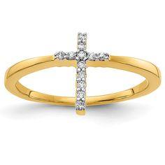 ApplesofGold.com - 14K Gold Diamond Cross Ring for Women Jewelry $325.00 Diamond Jewelry, Gold Jewelry, Women Jewelry, Jewelery, Diamond Cross, Gold Cross, Or Rose, Rose Gold, Christian Jewelry