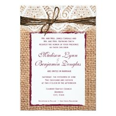 Rustic Country Burlap Cranberry Wedding Invite