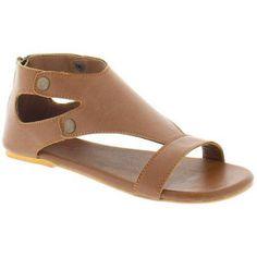 Shoes of Soul Women's Classic Ankle Strap Zipper Sandals, Size: 6, Beige