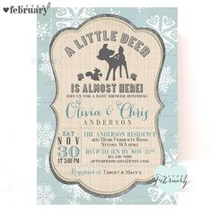 Winter Woodland Baby Shower Invitation Deer Baby by AfterFebruary