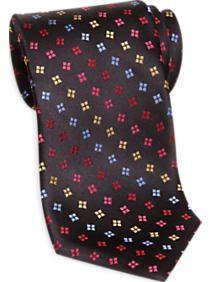 Corsini Sevenfold Red Multicolor Squares on Black Narrow Extra Long Tie