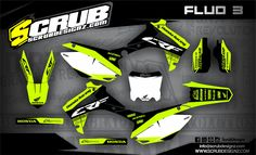 SCRUBdesignz has in a stock fluorescent plastics in yellow colour. Full works kits with graphics we`ve yet done look just amazing! Kit, Honda, Bike Stickers, Custom Wraps, Skull Tattoos, Dirt Bikes, Lamborghini Aventador, Black N Yellow, Cars And Motorcycles