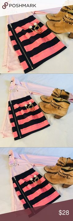 Pink + Blue Rugby Striped Exposed Zipper Skirt 4 Super cute horizontal striped pink and blue skirt with Exposed Zipper up back up. Perfect addition to any preppy and stylish wardrobe GAP Skirts