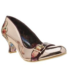 womens irregular choice rose gold delores diva low heels