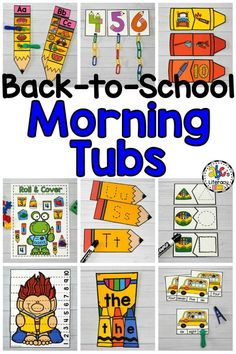 Back-To-School Morning Tubs Morning work should never be boring! These Back-to-School Morning Kindergarten Morning Work, Beginning Of Kindergarten, Kindergarten Centers, Beginning Of The School Year, Early Finishers Kindergarten, Preschool First Week, Kindergarten Bulletin Boards, Kindergarten Lessons, Literacy Centers