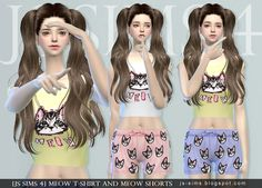 [JS SIMS 3&4] Meow T-shirt And Meow Shorts | JS SIMS