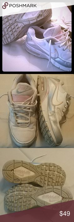 💙💕Nike AirMax 90's💕💙 💕NIKE AIXMAX 90.Just posted BETTER pics White with silver and pale pink. Definitely have been worn but still have alota life. Super comfy;).There is some darkening on top of the shoe. Other than that good condition.Thanks for looking, HAPPY POSHING Boys/men's 7Y💙💞 Nike Shoes Sneakers