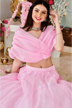 Trust me when we say this rose pink pleated lehenga trim will bring out the prettiest version of you. Party Wear Indian Dresses, Indian Fashion Dresses, Designer Party Wear Dresses, Indian Gowns Dresses, Dress Indian Style, Indian Designer Outfits, Indian Wedding Outfits, Bridal Outfits, Indian Designers