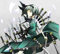Katana weapons konpaku youmu short hair swords (1333x1215, weapons, konpaku, youmu, short, hair, swords)  via www.allwallpaper.in