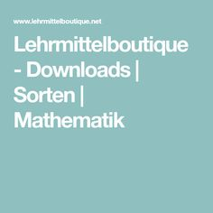 Lehrmittelboutique - Downloads | Sorten | Mathematik