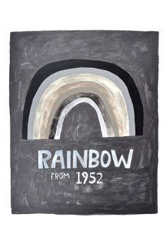 Print Watercolor Rainbow Vintage Quirky art Black by retrowhale