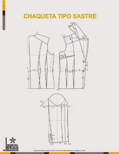 modelist kitapları: Manual-de-Patronaje-Basico-e-Interpretacion-de-Disenos Sewing Doll Clothes, Sewing Dolls, Pattern Cutting, Pattern Making, Modelista, Pattern Drafting, Dress Sewing Patterns, Jacket Pattern, Fashion Sewing