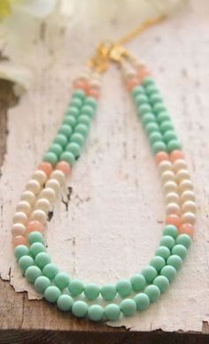 Double Strand Statement Necklace in Mint, Peach and Ivory