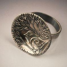 Chickadee Ring |©2011 Vickie Hallmark |  fine silver