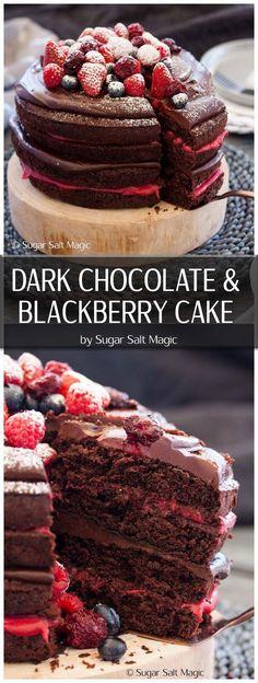 Blackberry Chocolate Cake with Chocolate Ganache and Homemade Blackberry Curd #chocolatecake #birthdaycake via @sugarsaltmagic