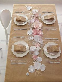 Kraft paper table runner cool! fun for a kids party even?!