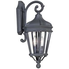 This outdoor wall light in a vintage black finish from Minka is the perfect addition to any traditional home. 7 wide x high. Extends 10 from wall. Takes two 60 watt candelabra bulbs (not included). Style # at Lamps Plus. Wall Lights, Lamps Plus, Glass Bulbs, Vintage Black, Outdoor Wall Lighting, Black Lamps, Outdoor Lanterns, Outdoor Walls, Metal Candle