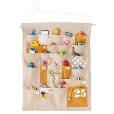 Kids Holiday Decor: Kids Chambray Christmas Advent Calendar - Gold Shapes and Sizes Countdown Advent Calendar Nordic Christmas, Modern Christmas, Christmas Love, Christmas Countdown, All Things Christmas, Christmas Holidays, Christmas Crafts, Christmas Tables, Christmas Stockings