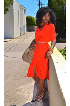 Red-vintage-wrap-dress-camel-celine-bag-black-valentino-pumps. I love her choice of colors and they look beautiful on her! <3