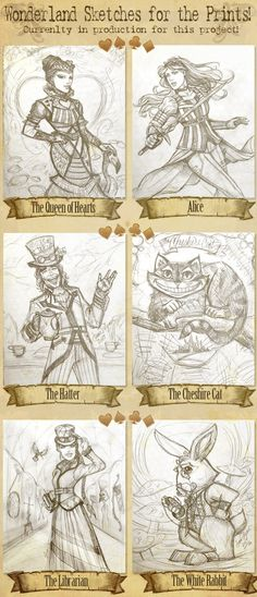 Juan Solorzano rough sketches for prints of Alice in Wonderland playing card deck on kickstarter.