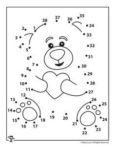Valentine Teddy Bear Dot to Dot Kids Wedding Activities, Senior Activities, Valentine Activities, Activities For Kids, Teddy Bear Coloring Pages, Dot To Dot Puzzles, Dot To Dot Printables, Dotted Drawings, Dementia Activities