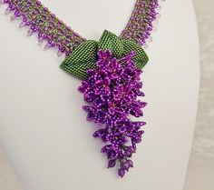 Raindrops on Lilacs Beadwork Necklace