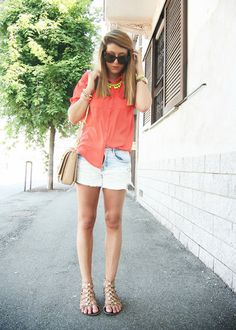 Shorts, loose button up, sandals