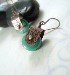 "Hammered Copper Earrings Magnesite - Rollin"" by WillowCreekJewelry"