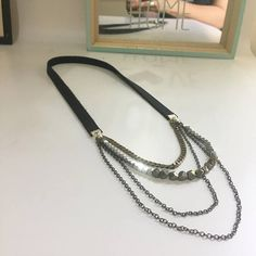 Rock n roll jewels metalic beaded necklace with leather