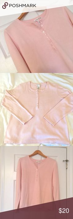 Chause Pale Pink Super Soft Henley for Nordstrom Chause Pale Pink Super Soft Henley for Nordstrom. Made of 100% acrylic. It is soft like a fleece but without the bulk and piling. Size Large. Chaus Tops