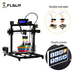 Flsun 3D Printer Auto-level Large size Printer 300x300x420mm Dual Extruder DIY I3 3D Printer Kit Heated Bed Two Rolls Filament