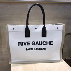 5aab4d00c9d90 Saint Laurent Rive Gauche Tote Bag in White Linen and Black Leather 2018      Real Purse