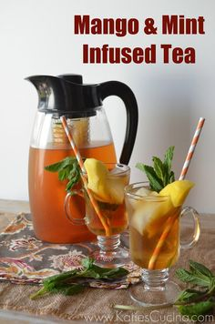 Mango  Mint Infused Tea -- I am so doing this after a trip to Teavana today!!!  Stand back, tea creations on their way!!