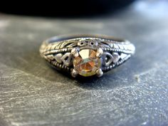 One of a Kind Color Changing Crystal Ring Oxidized by JennKoDesign