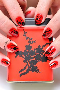 China flowers Latest Nail Designs, Nail Art Designs, Manicures, Nails, Black Flowers, China, Red Background, Orange Red, Saga