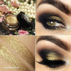 """Gorgeous gold, smokey eye by @Bruna Coral Tavares using Maybelline Color Tattoo in """"Bold Gold""""  Follow BeautyTNT on Instagram for more! -> www.instagram.com/beautytnt"""
