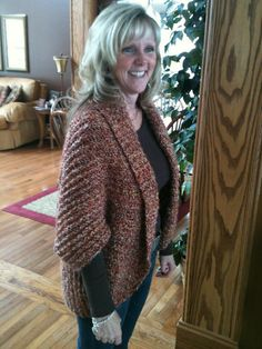 The beautiful shrug I made for my Mom's birthday. Pattern from Lion Brand. Yarn: (4)Lion Brand Homespun. Color: Spice.