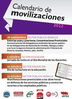 Calendario de movilizaciones en Andalucía | Septiembre - Octubre 2012