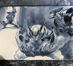"Joverine on Instagram: ""Wolverine sketchbook spread Swipe for closer views . Tools Moleskine watercolour book Copic cool grey wide markers Bic round stic M pen .…"" Watercolor Books, Logan Wolverine, Moleskine, Copic, Cool Drawings, Closer, Markers, Sci Fi, Science Fiction"