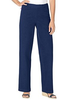Womens Plus Size Tall Wideleg Pull On Denim Indigo18 T *** Check this awesome product by going to the link at the image.