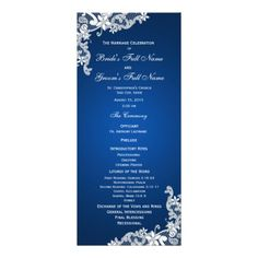 Sapphire and Lace Wedding Program Customized Rack Card