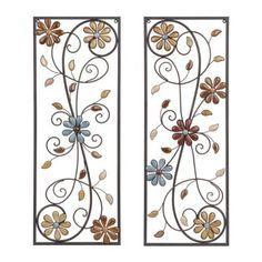 Olivia Stone Floral Metal Plaques, Set of 2   Kirklands, item #137683