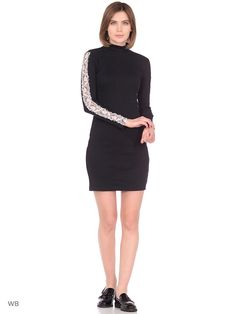 Black golf neck mini dress with lace. Чёрное платье с кружевом Blouse Dress, Peplum Dress, Lace Dress, Dress Brands, Dresses For Work, Clothes, Black, Fashion, Outfits