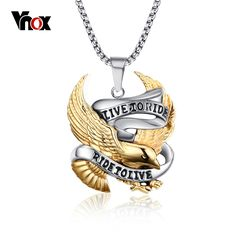 New Collares Fashion Punk Eagle Necklace Pendants Live To Ride Biker Sport Men Plated Stainless Steel Hero Jewelry Punk Jewelry, Men's Jewelry, Women Jewelry, Steel Jewelry, Male Jewelry, Statement Jewelry, Jewelry Stores, Jewelry Gifts, Jewelry Watches