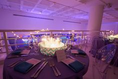 Turquoise Blue & Chevron Bat Mitzvah Centerpieces at 404 NYC {Party Planner: Florie Huppert Design, Photography by 5th Avenue Digital} - mazelmoments.com
