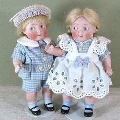 "Adorable 5 1/2"" Pair Kestner 179 Googlies from aquietplace on Ruby Lane"