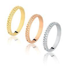 TQJ - Conjunto trio anéis aliança trabalhado duplo ouro amarelo, rosé e branco…